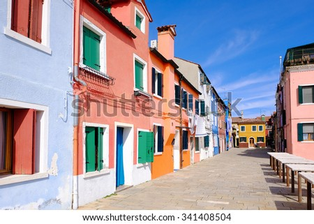 Colorful houses on the famous island Burano, Venice, Italy - stock photo