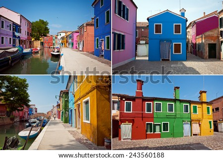 Colorful houses on the Island Burano, Italy. Set of 3 photos
