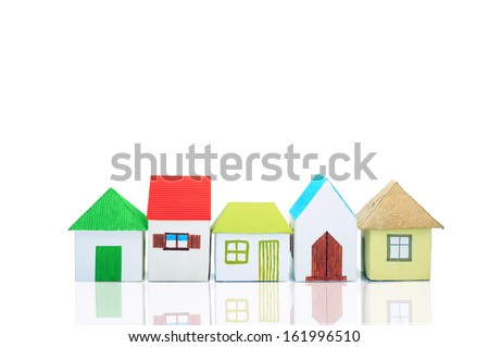 Colorful houses on the white background