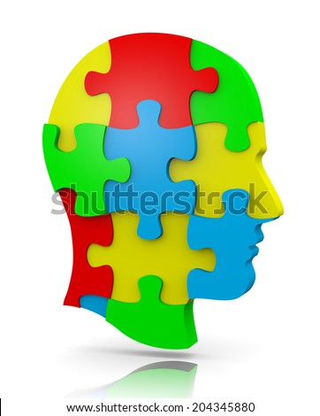 Colorful Human Puzzle Head Illustration on White - stock photo