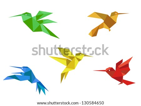 Colorful hummingbirds set in origami paper style on white background. Vector version also available in gallery