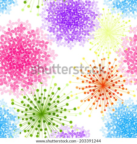 Colorful Hydrangea Flower Seamless Background Wallpaper - stock photo