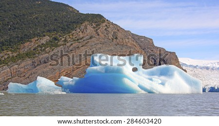 Colorful Iceberg by the Grey Glacier in Torres del Paine, National Park in Patagonian Chile