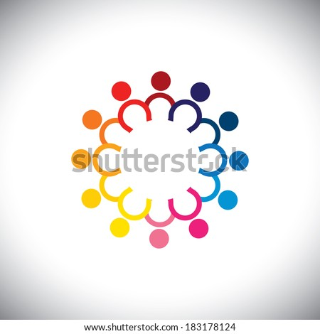 colorful icons of children standing in circle - concept illustration. The graphic can also represent employees unity, workers union, executives meeting, friendship, team work & team spirit  - stock photo