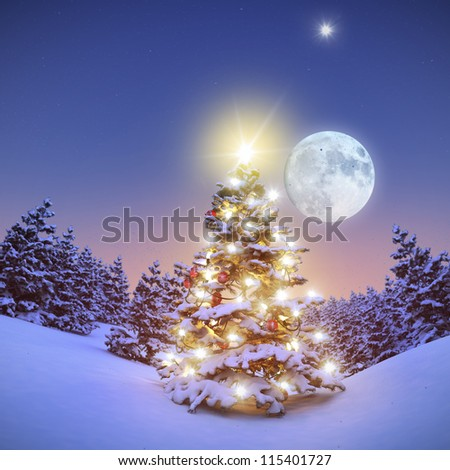 Colorful illuminated Christmastree in snowy Forest 3D
