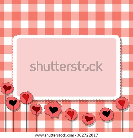 Colorful illustration background, invitation or greeting card template with beautiful hearts and square frame for the text. Happy Valentines Day.