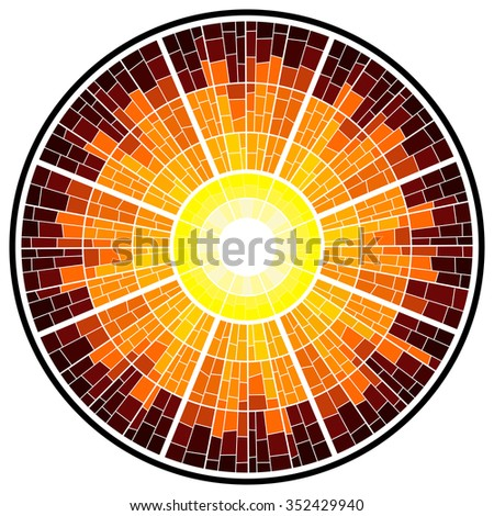 Colorful illustration background of sun glow with rays. Stained glass window mosaic style. - stock photo