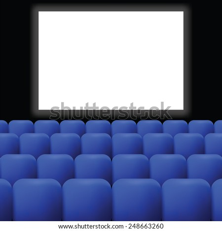 colorful illustration  cinema with blue curtain on dark background - stock photo