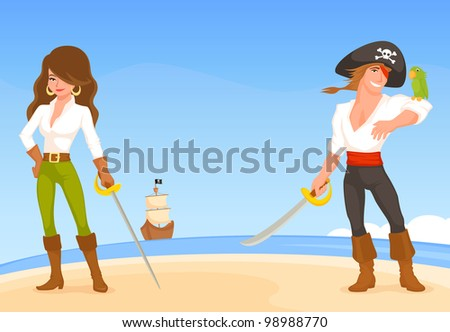 colorful illustration for kids with pirate theme