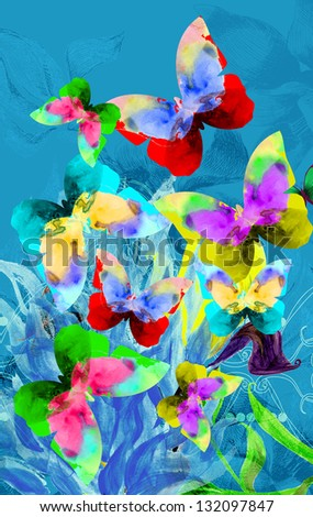 Colorful illustration of butterflies on blue plants