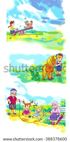 colorful illustration of children playing at playground - stock photo