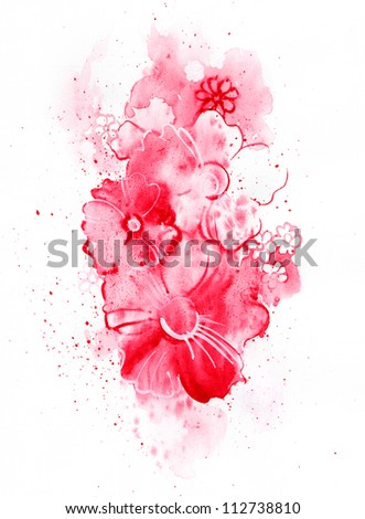 Colorful illustration of flowers in watercolor paintings - stock photo