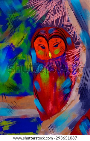 Colorful illustration of Owl sitting on the branch. Digital painting, a symbol of wisdom, status and intelligence
