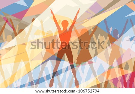 Colorful illustration of women doing aerobic dance exercise together - stock photo