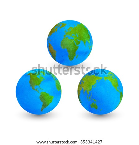 Colorful Illustration watercolors globes isolated on white