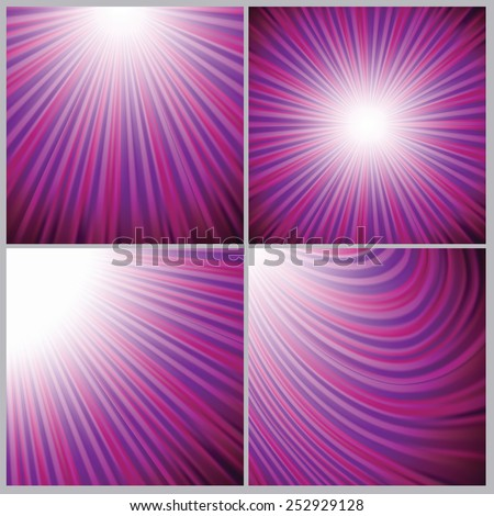 colorful illustration  with abstract pink rays background - stock photo