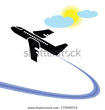 colorful illustration with airplane in flight for your design