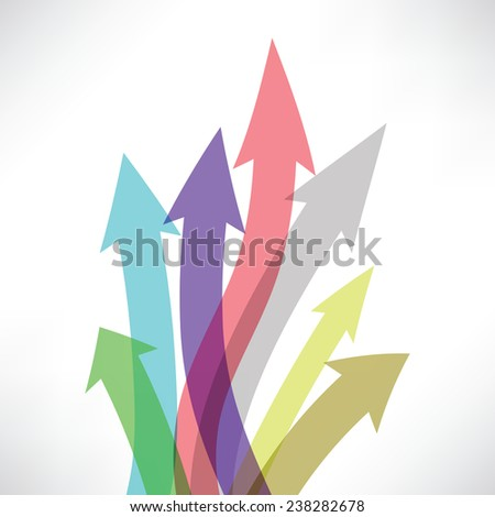 colorful illustration  with  arrow set  on white background