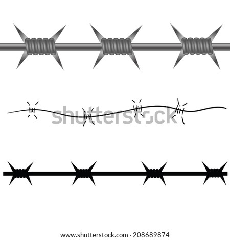 colorful illustration with barbed wire  on a white background  for your design