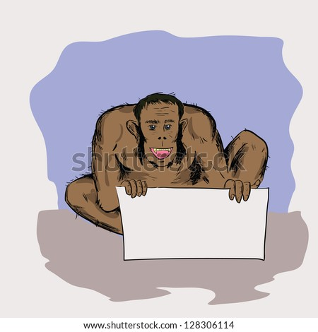 colorful illustration with  neanderthal for your design - stock photo