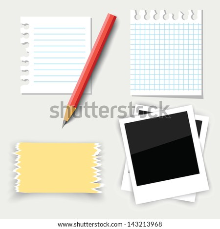 colorful illustration with note paper and pencil for your design - stock photo