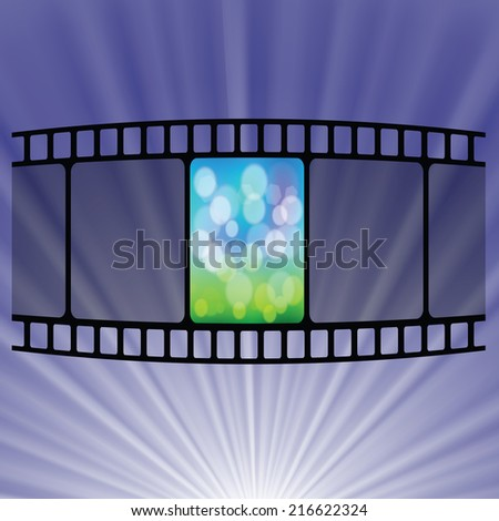 colorful illustration with Old film strip  on a blue  background - stock photo