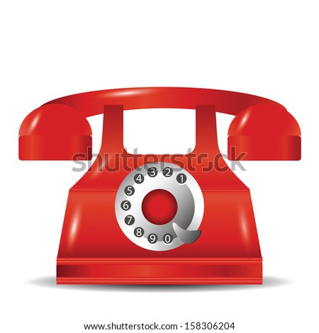 colorful illustration with old red phone  for your design - stock photo