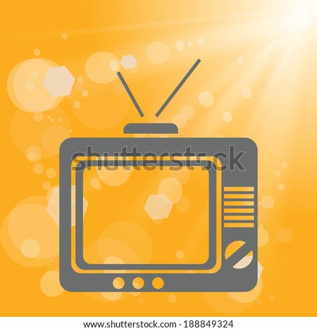 colorful illustration with old tv on a yellow background for your design - stock photo