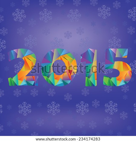 colorful illustration with polygonal new year numbers on blue snow flake background