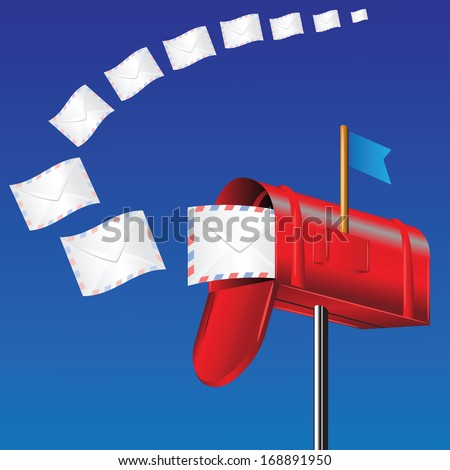 colorful illustration with red mail box for your design - stock photo