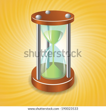colorful illustration with sand clock on a sun wave background for your design