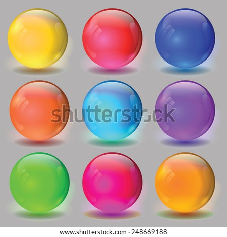 colorful illustration  with set of ball on grey  background