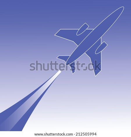 colorful illustration with silhouette of airplane in flight for your design - stock photo