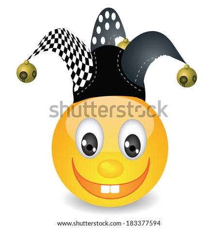 colorful illustration with smile in a jester hat for your design - stock photo