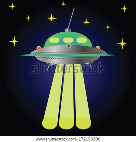 colorful illustration with spaceship for your design - stock photo