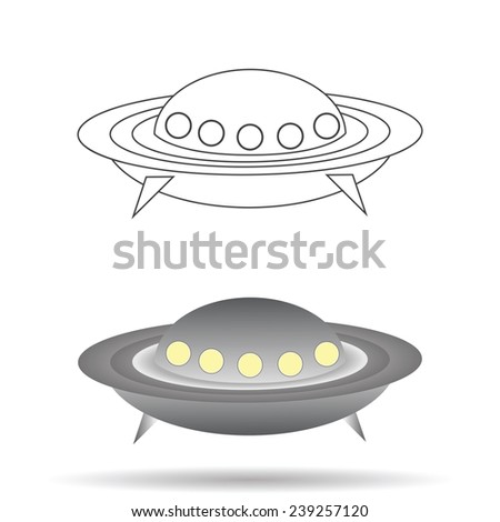 colorful illustration  with  spaceship  on white background - stock photo