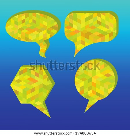 colorful illustration with speech bubbles on a blue background for your design - stock photo
