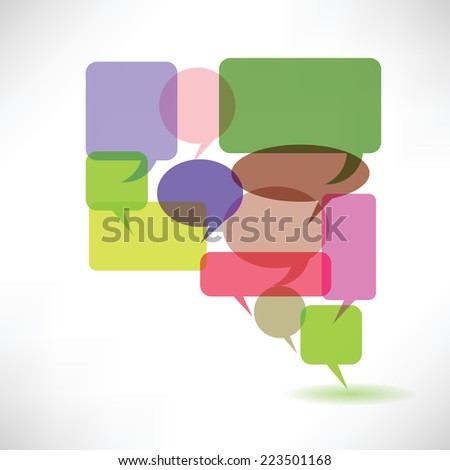 colorful illustration with  speech bubbles on a white background