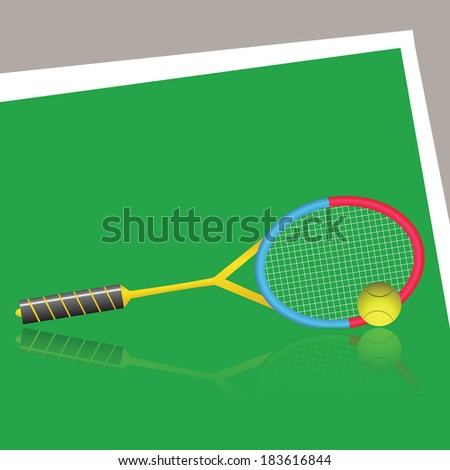 colorful illustration with tennis racket and ball on a green background