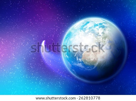 Colorful image of Earth planet. Elements of this image are furnished by NASA - stock photo