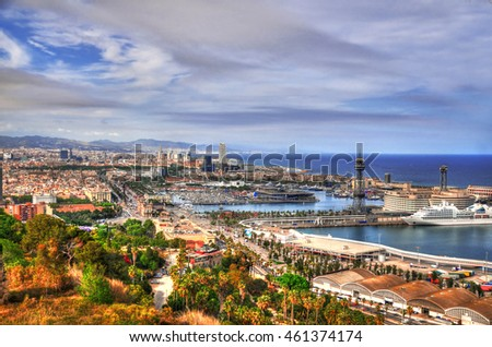 Colorful image of panoramic view of Barcelona and its port in Spain before sunset