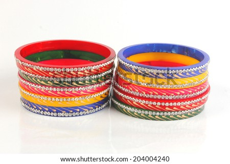 colorful indian bangles isolated on white