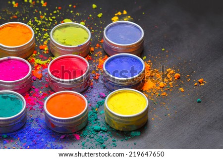 Colorful Indian Holi festival colours - stock photo