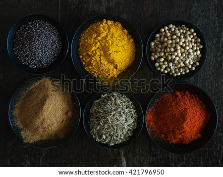 Colorful Indian Spices on Dark Background. - stock photo