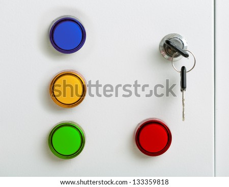 Colorful indicators electrical switchgear cabinet - stock photo