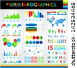 Colorful infographics set and universal icons. Raster version. Vector version available in my portfolio - stock photo
