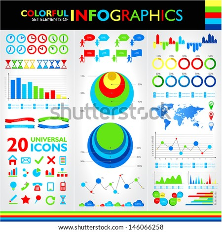 Colorful infographics set and universal icons. Raster version. Vector version available in my portfolio.