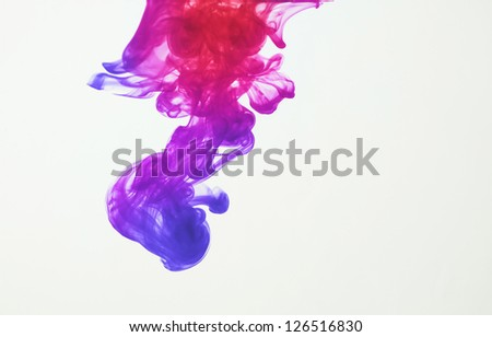 Colorful ink: blue, purple, pink and red - stock photo