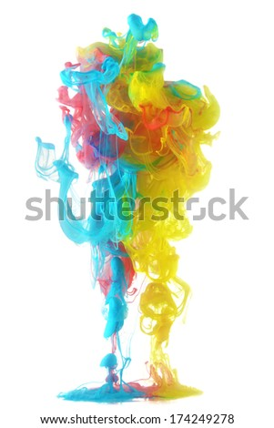 Colorful ink in water abstract - stock photo