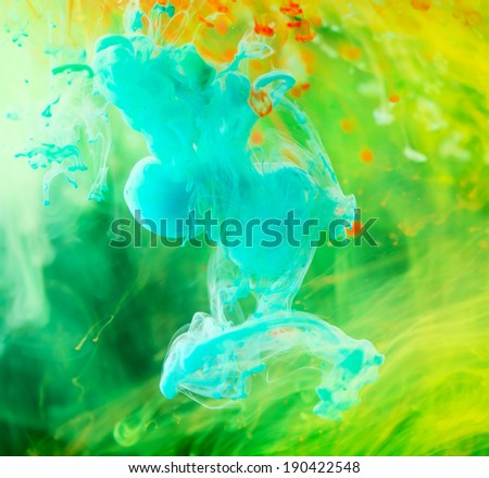 Colorful ink in water abstract